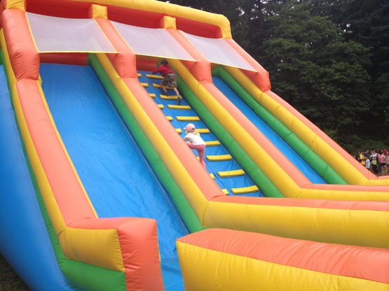 two children racing to top of double slide bouncy castle